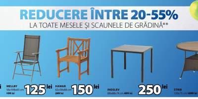 Reducere intre 20-55% la toate mesele si scaunele de gradina
