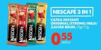 Cafea instant original/ strong/ mild/ zahar brun Nescafe 3 in 1