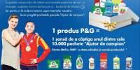 1 produs P&G = 1 sansa de a castiga unul dintre cele 10000 pachete 'Ajutor de campion'