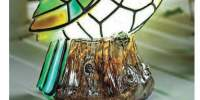 Lampa solara cu pasare Tiffany