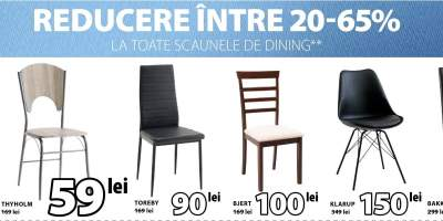Reducere intre 20-65% la toate scaunele de dining