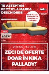 Catalog Kika mobilier si decoratiuni 27 decembrie 2017 - 15 ianuarie 2018 'Zeci de oferte doar in Kika Pallady!'