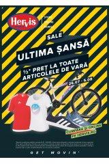 """Catalog Hervis sport 26 iulie - 5 august: """"Ultima sansa: jumatate de pret la toate produsele"""""""